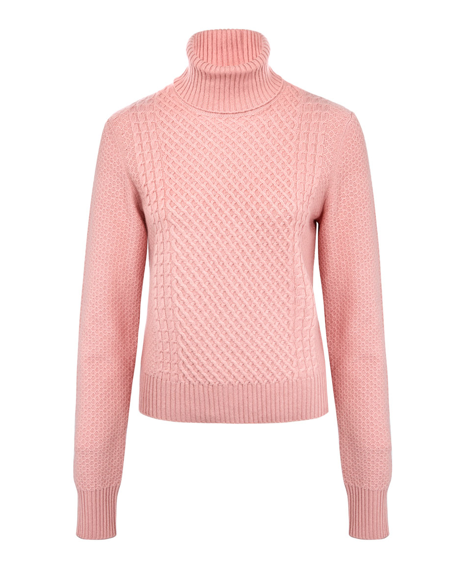 Equipment Pink Atticus Cable Knit Cashmere-blend Polo Neck Jumper ...