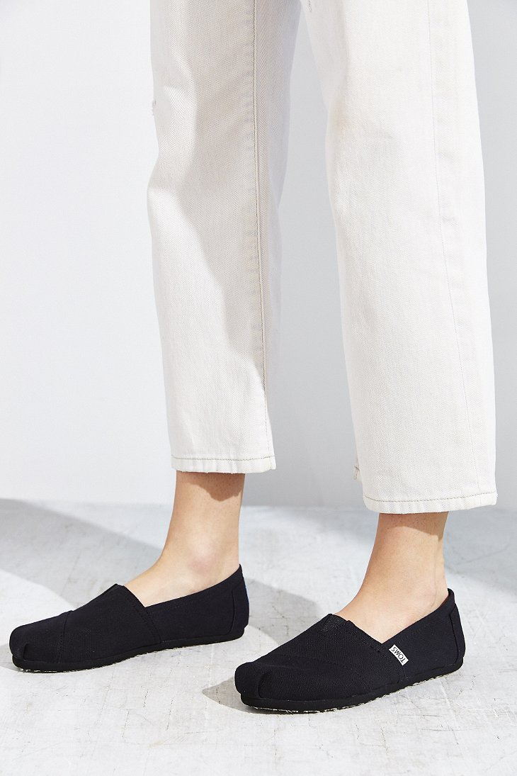 c2e1734d95c Lyst - TOMS Black On Black Canvas Women s Classics Slip-on Shoe in Black
