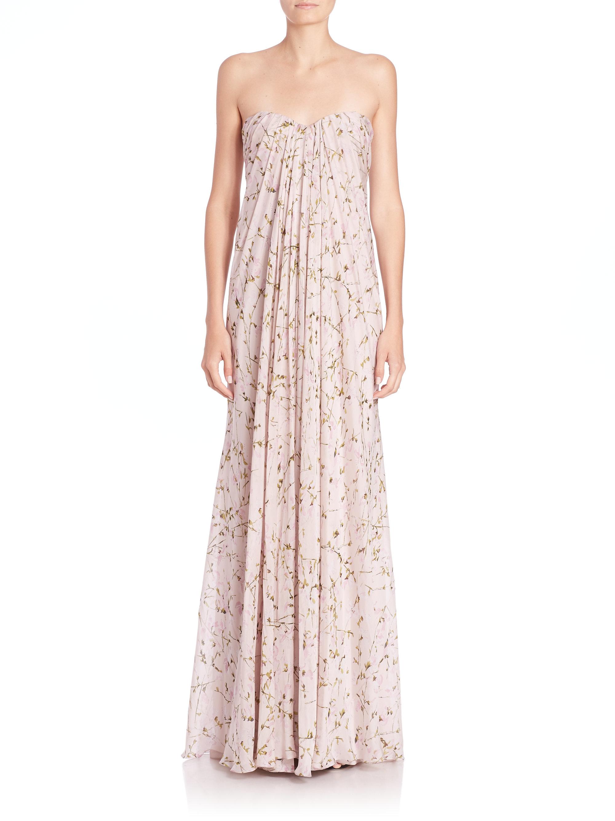 Alexander mcqueen Strapless Silk Chiffon Sweetpea Gown in Pink  Lyst