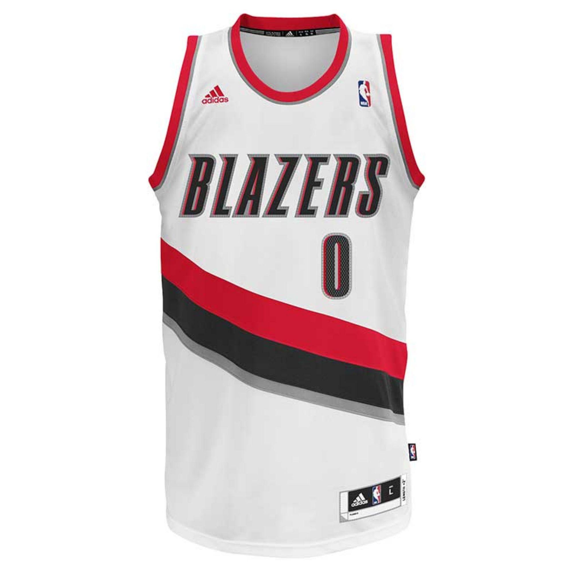 adidas Mens Portland Trail Blazers Damian Lillard Jersey in White ...