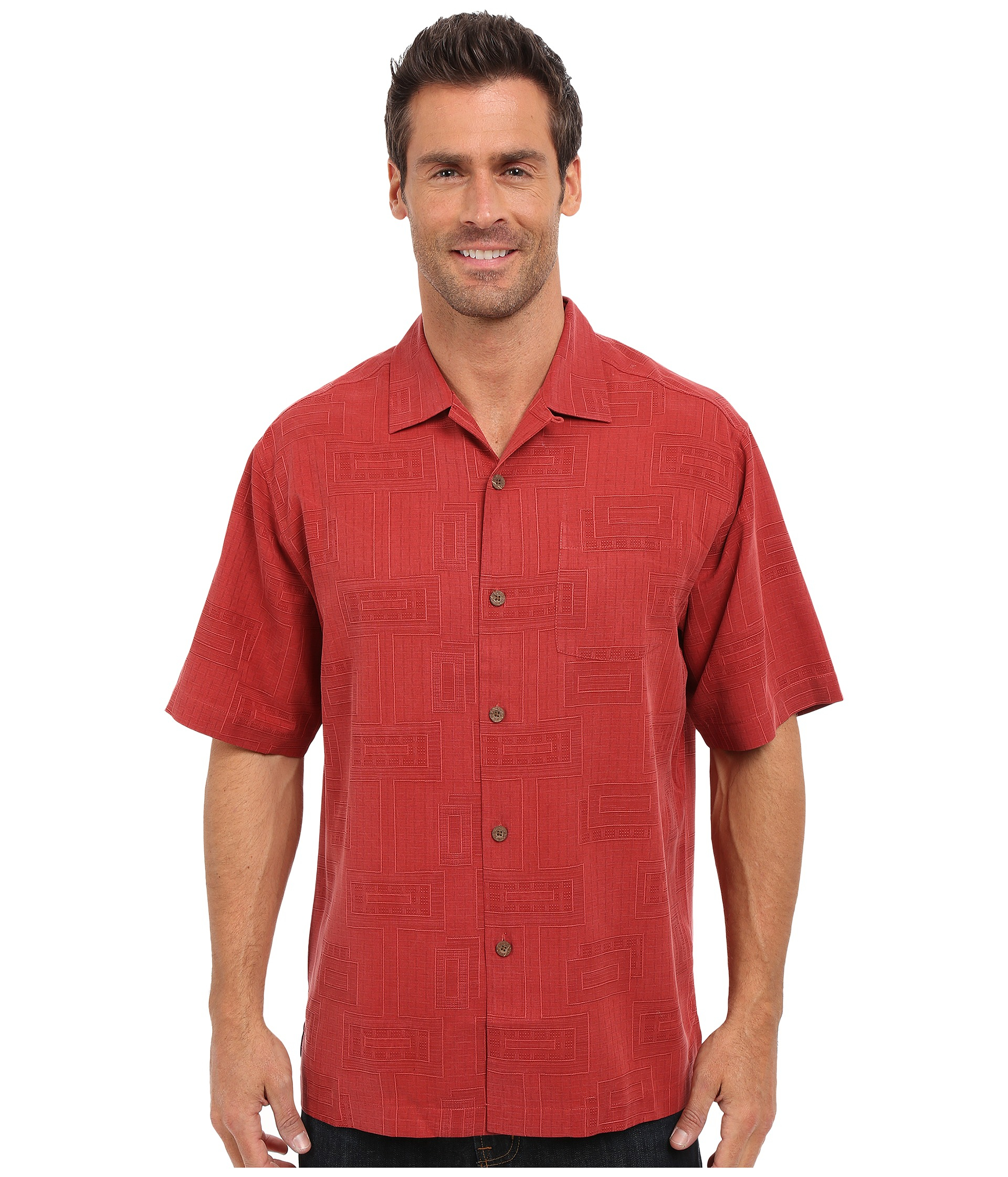 Tommy bahama surfwinds geo camp shirt in red for men lyst for Tommy bahama short sleeve silk camp shirt