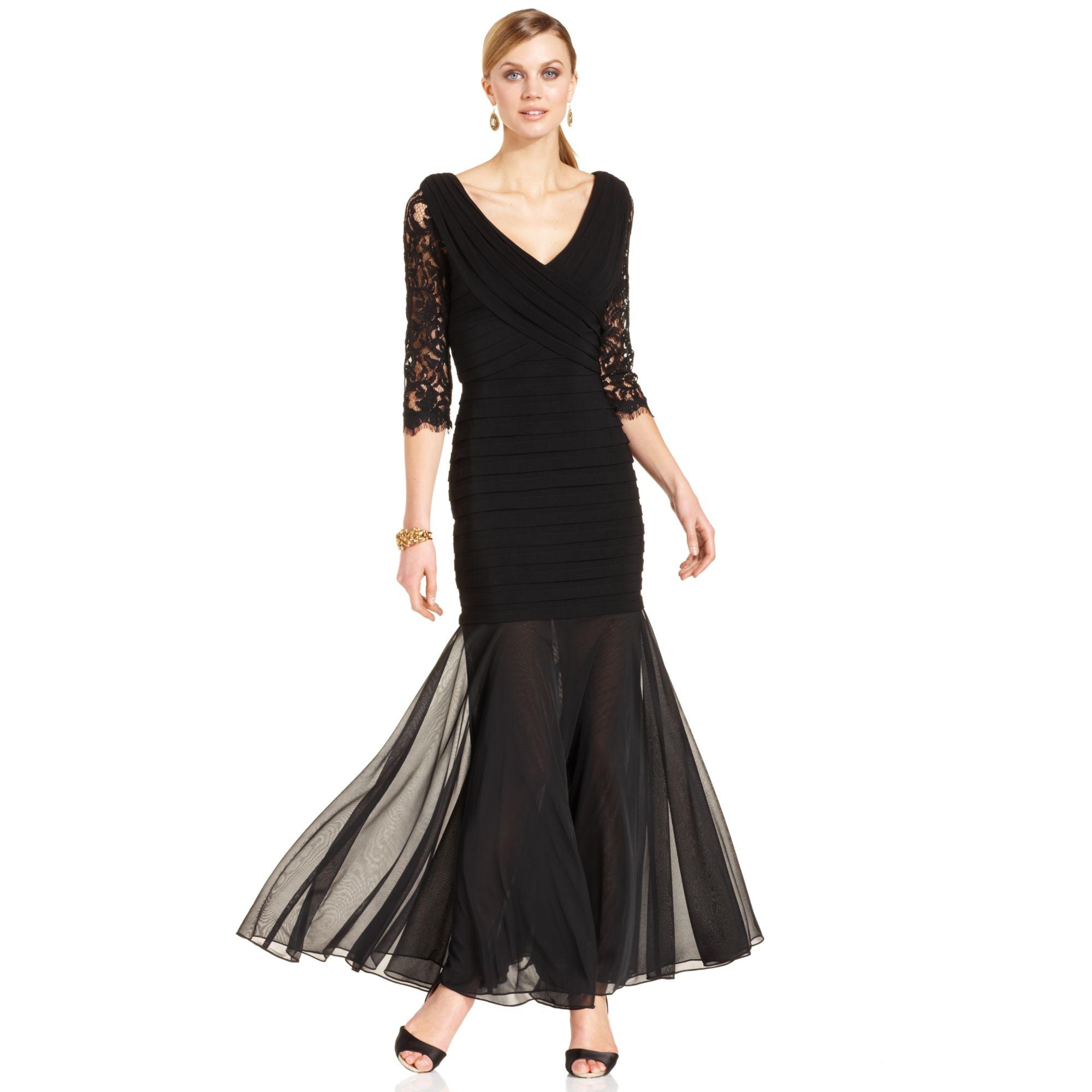 lyst xscape lace shutterpleat mermaid gown in black