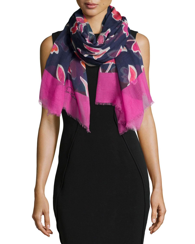 lyst oscar de la renta floral print oblong scarf in blue. Black Bedroom Furniture Sets. Home Design Ideas