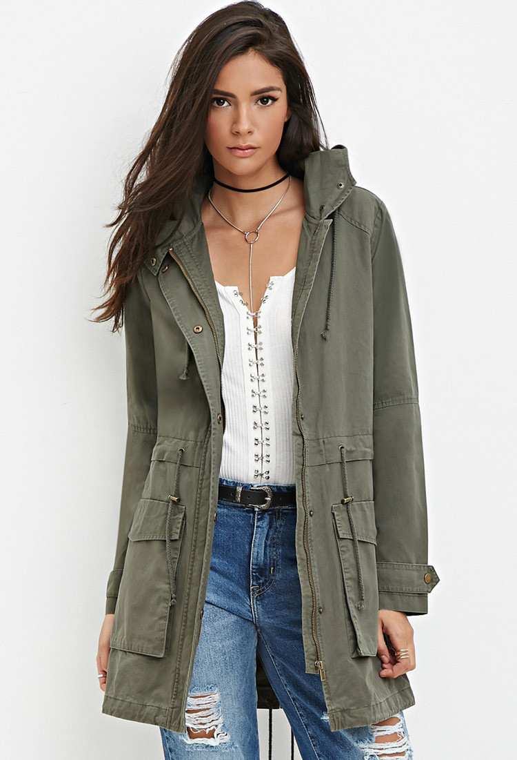 Utility Jacket Jackets And Nike: Forever 21 Longline Hooded Utility Jacket In Green (Olive