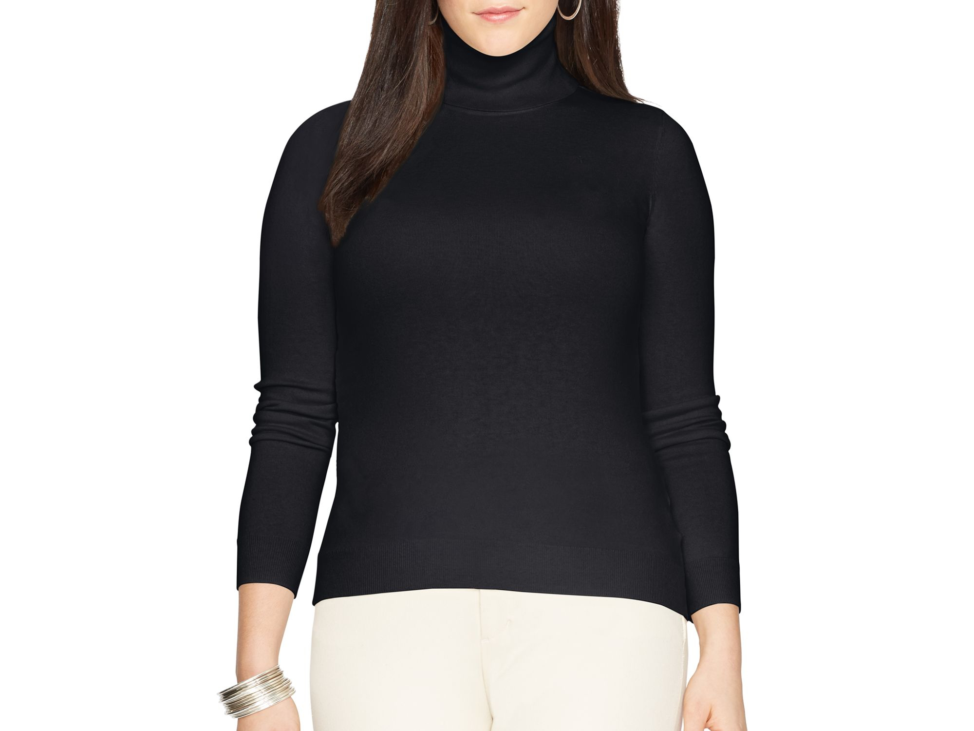 Pink pony Lauren Plus Silk-cotton Turtleneck Sweater in Black | Lyst