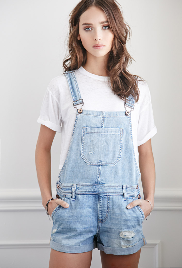 Lyst Forever 21 Distressed Denim Overall Shorts In Blue