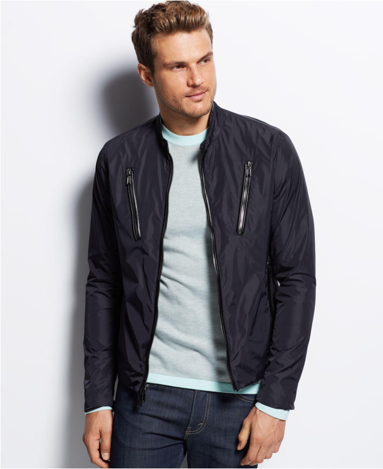 Michael kors Nylon Moto Jacket in Black for Men | Lyst