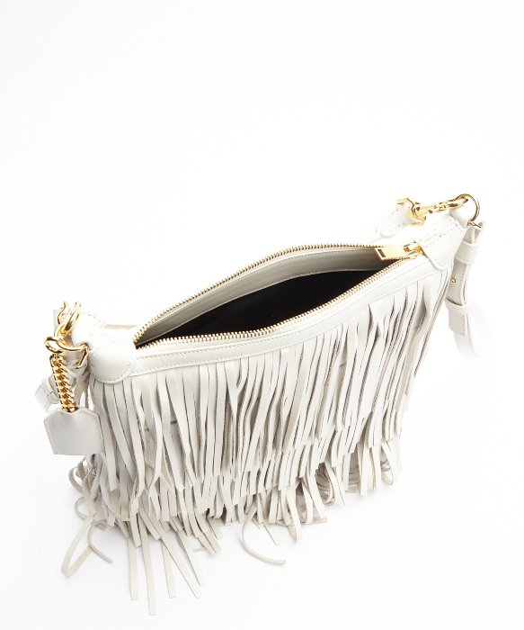 1ca9eb228f9 Emmanuelle Small Leather Fringe Hobo Bag, Black, ysl purses replica