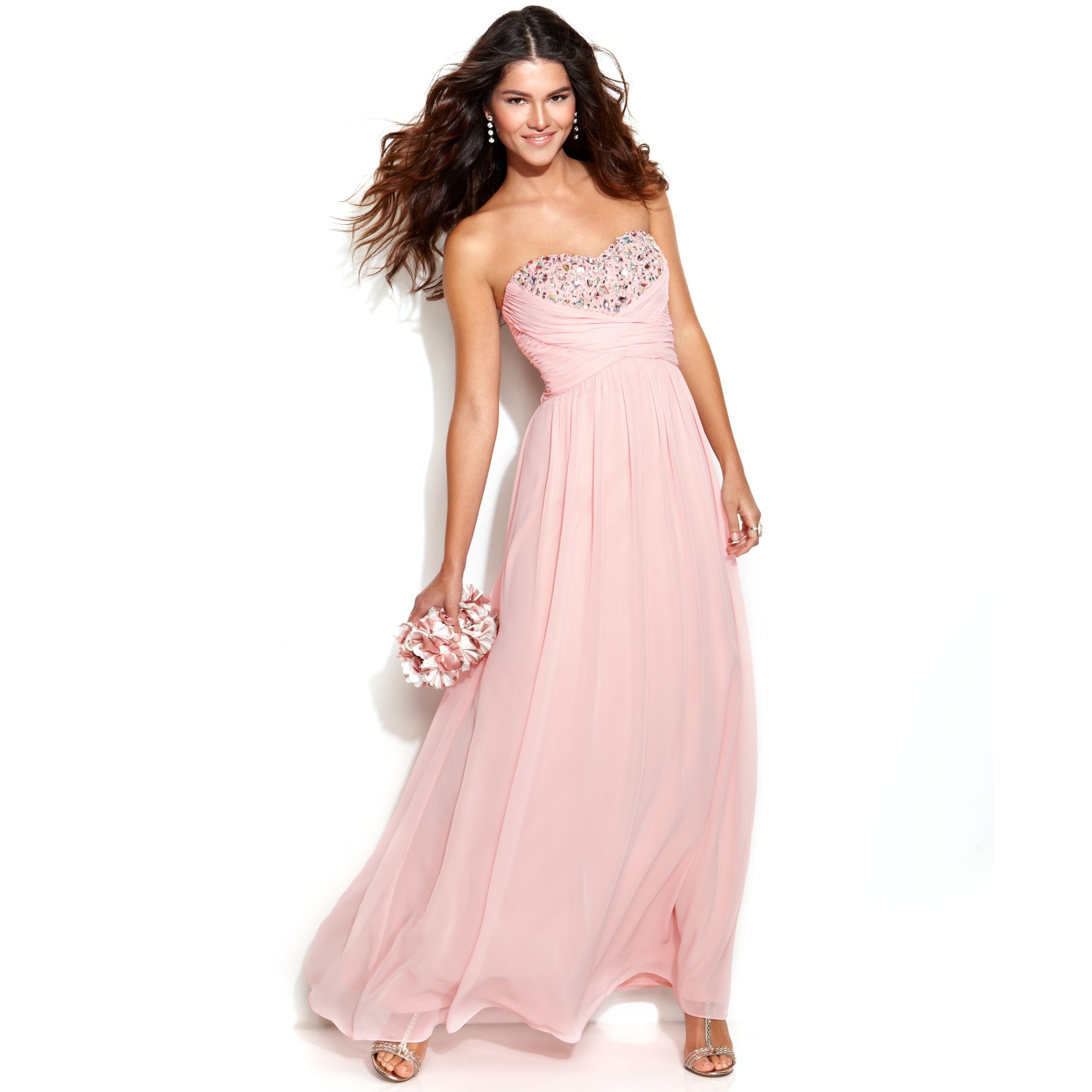 Lyst xscape strapless embellished ruched gown in pink gallery ombrellifo Images