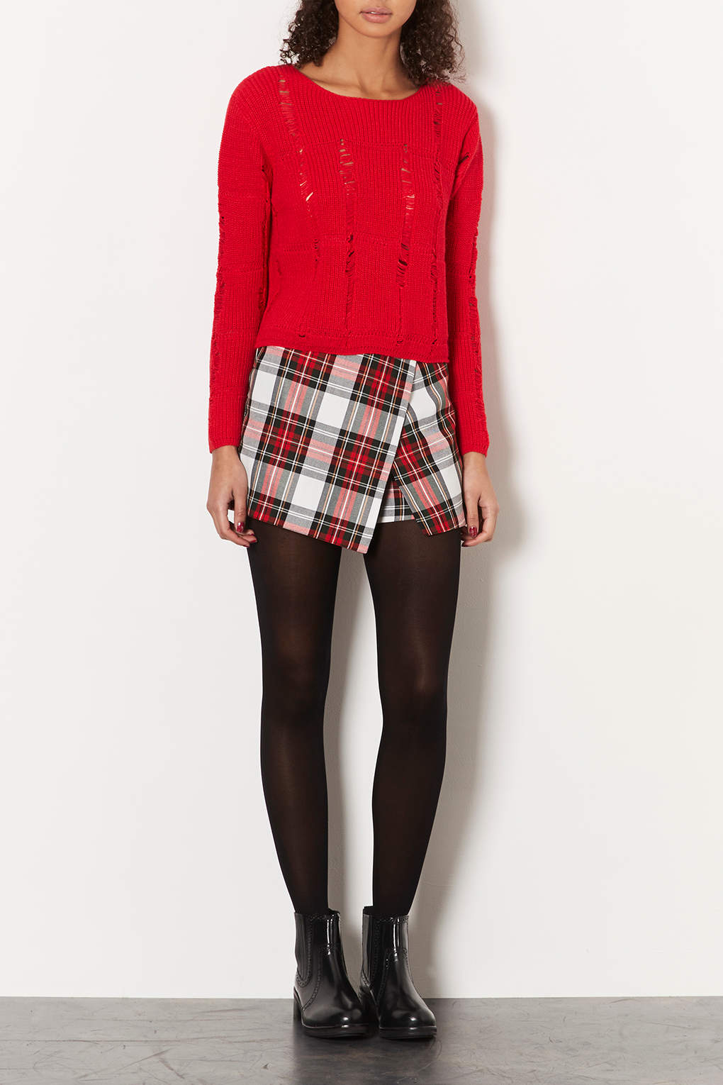 Lyst Topshop Petite Knitted Ladder Stitch Jumper In Red