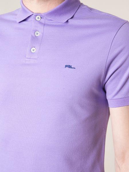 Ralph lauren black label logo polo shirt in purple for men for Black ralph lauren shirt purple horse