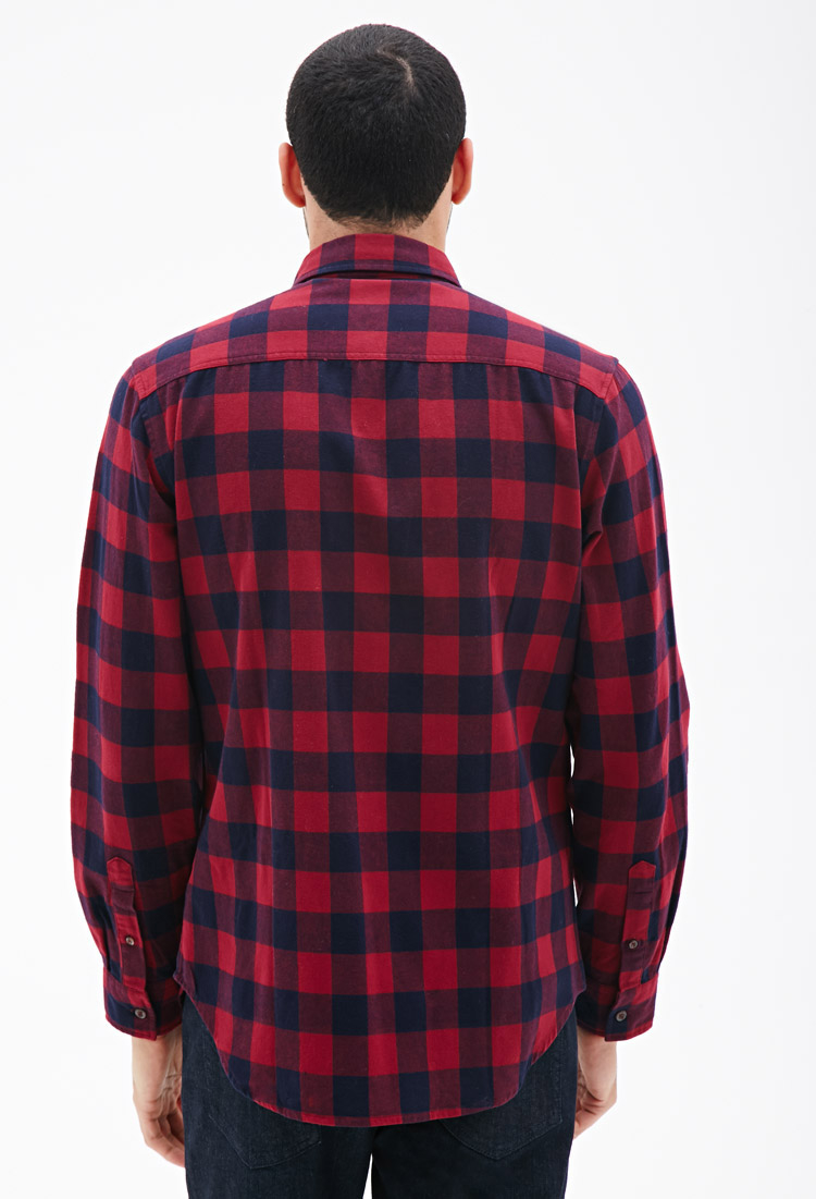 Forever 21 buffalo check flannel shirt in purple for men for Buffalo check flannel shirt jacket