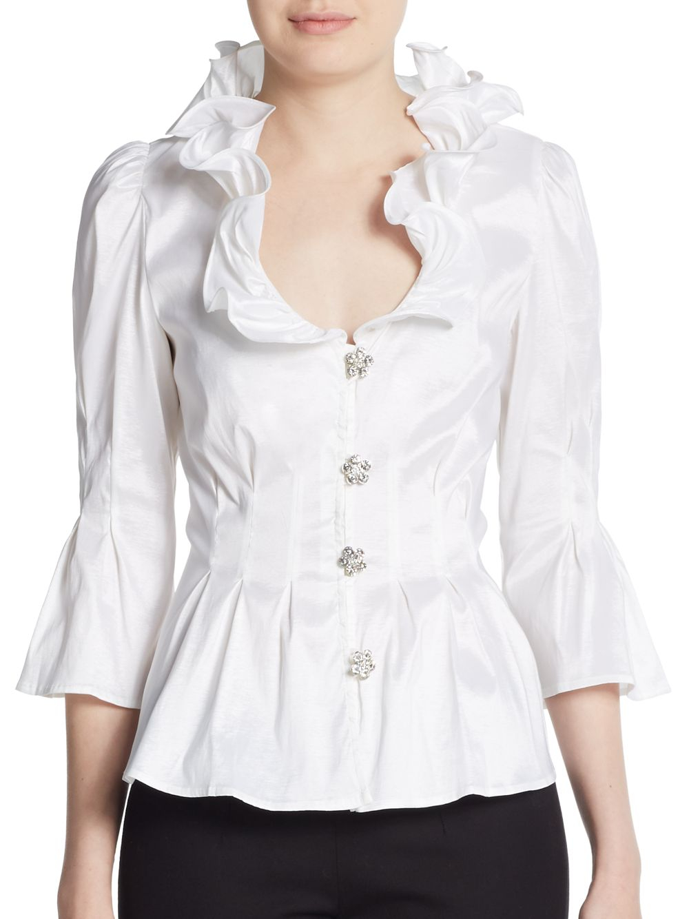 Women'S White Blouse With Black Collar 82