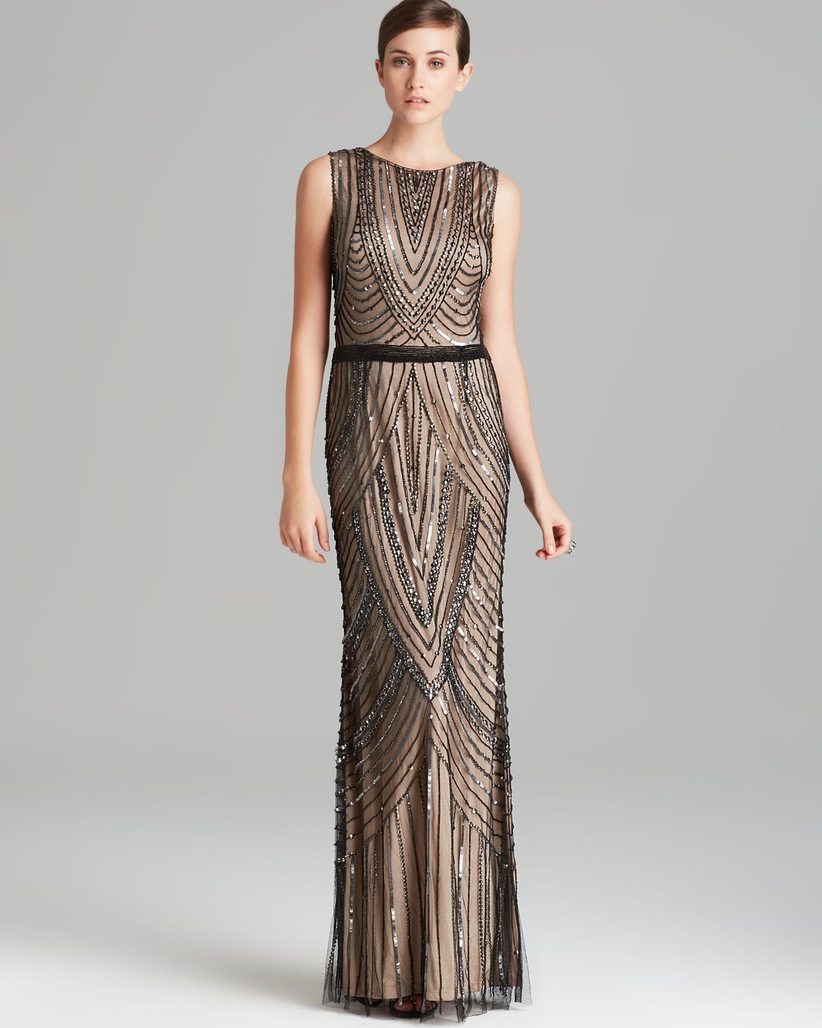 Lyst - Adrianna Papell Gown - Sleeveless Beaded in Natural