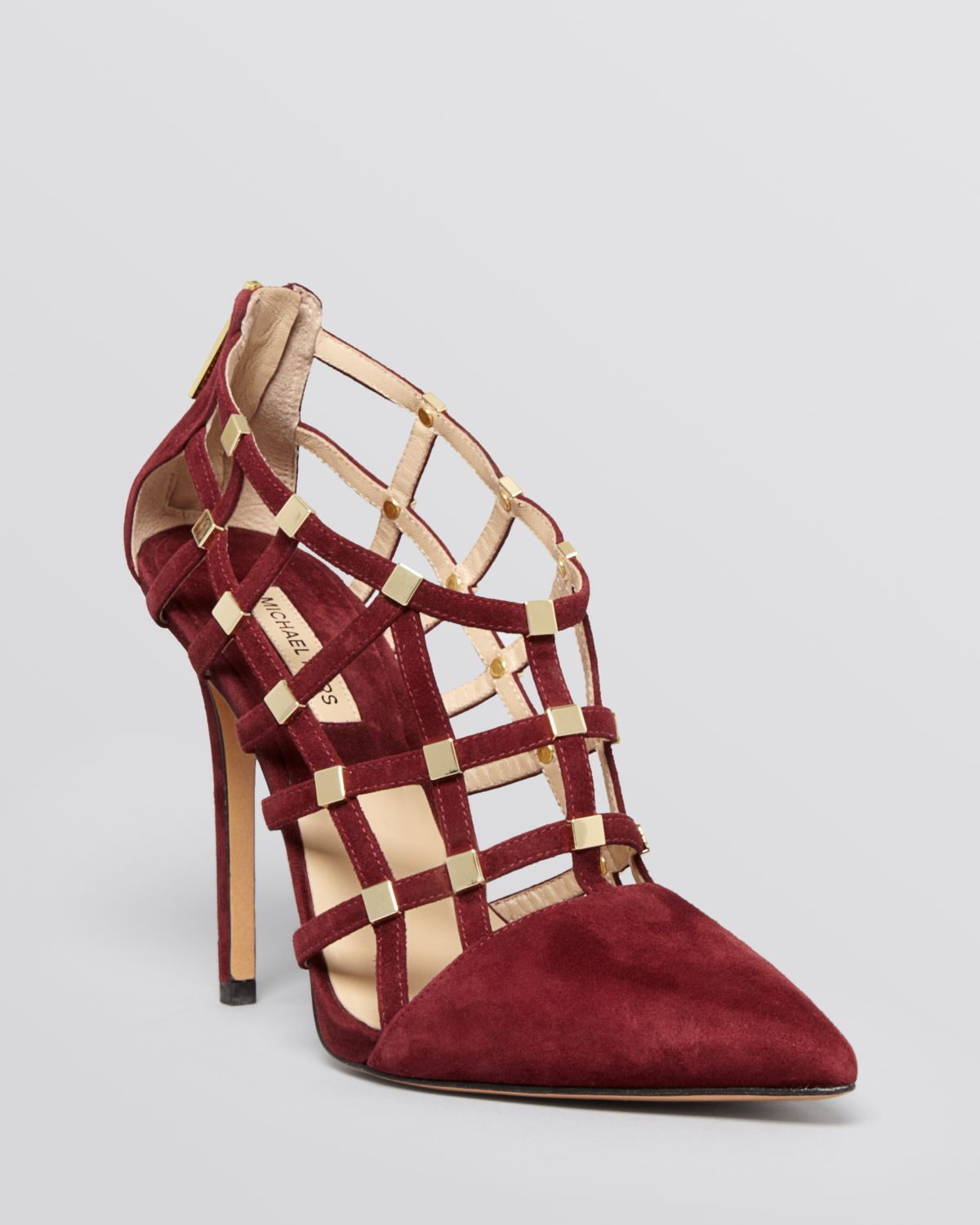 Lyst Michael Kors Agnes Suede Cage Pump In Red