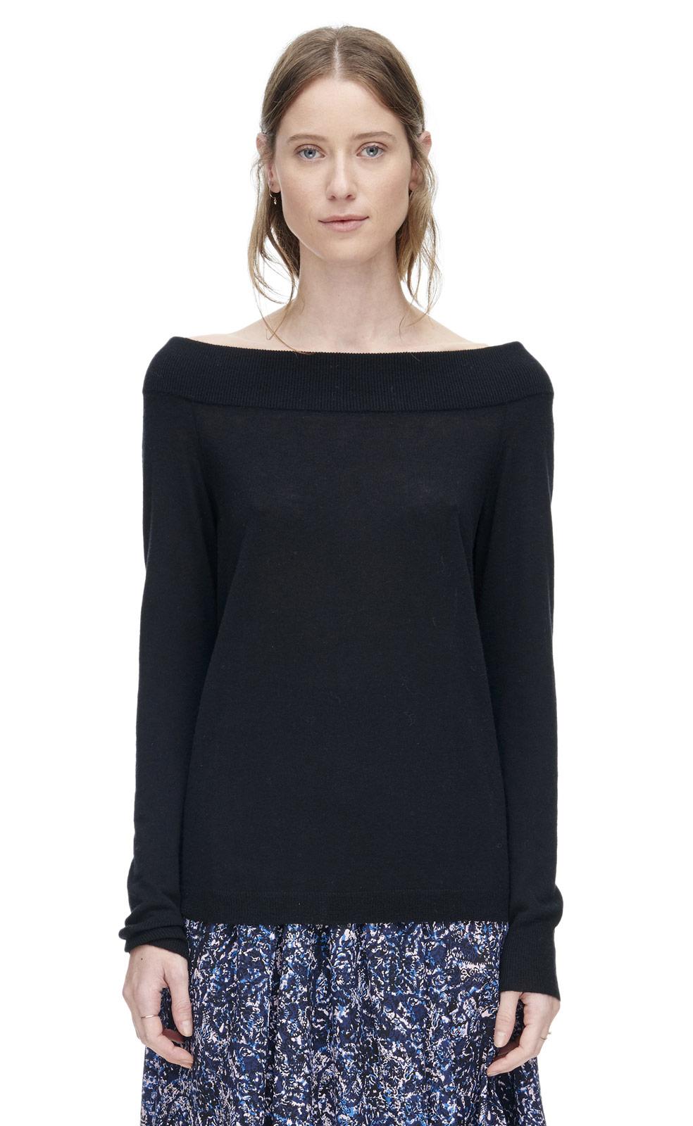 lyst rebecca taylor off shoulder pullover in black. Black Bedroom Furniture Sets. Home Design Ideas