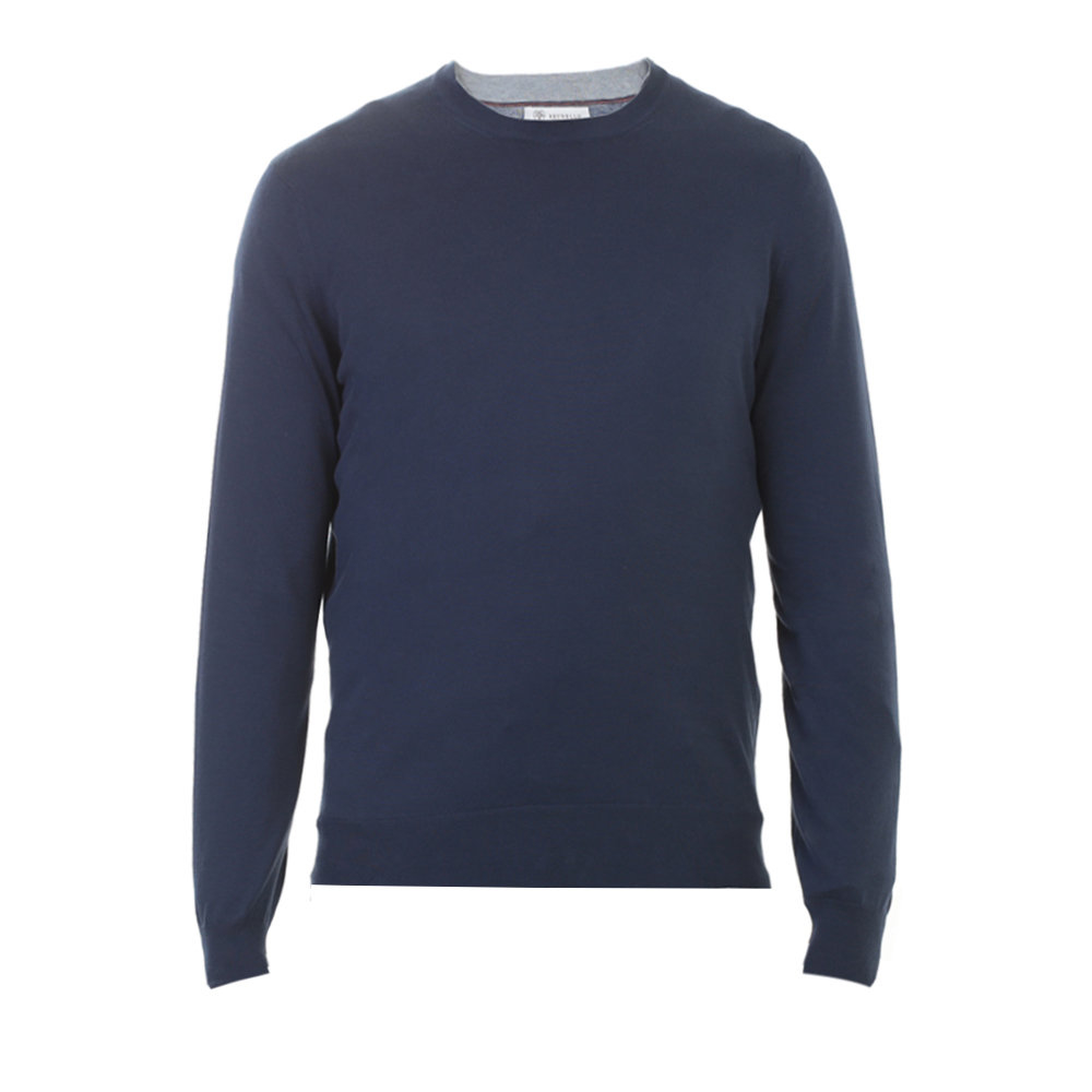 Brunello cucinelli Navy Blue Cotton Sweater in Blue for Men | Lyst