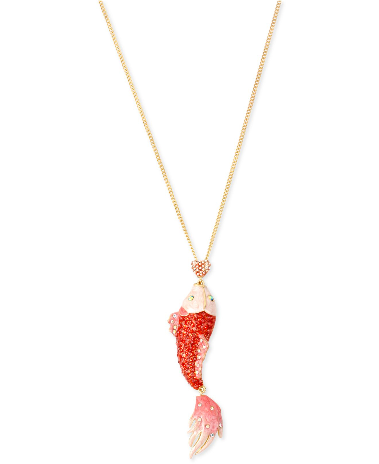 Betsey johnson gold tone pave fish pendant necklace in for Gold fish pendant