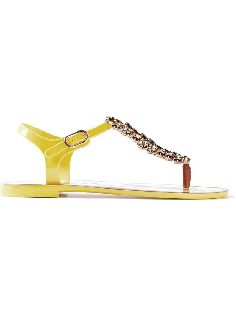 d36a41906b25 Lyst - Dolce   Gabbana Lemon Embellished Sandals in Yellow
