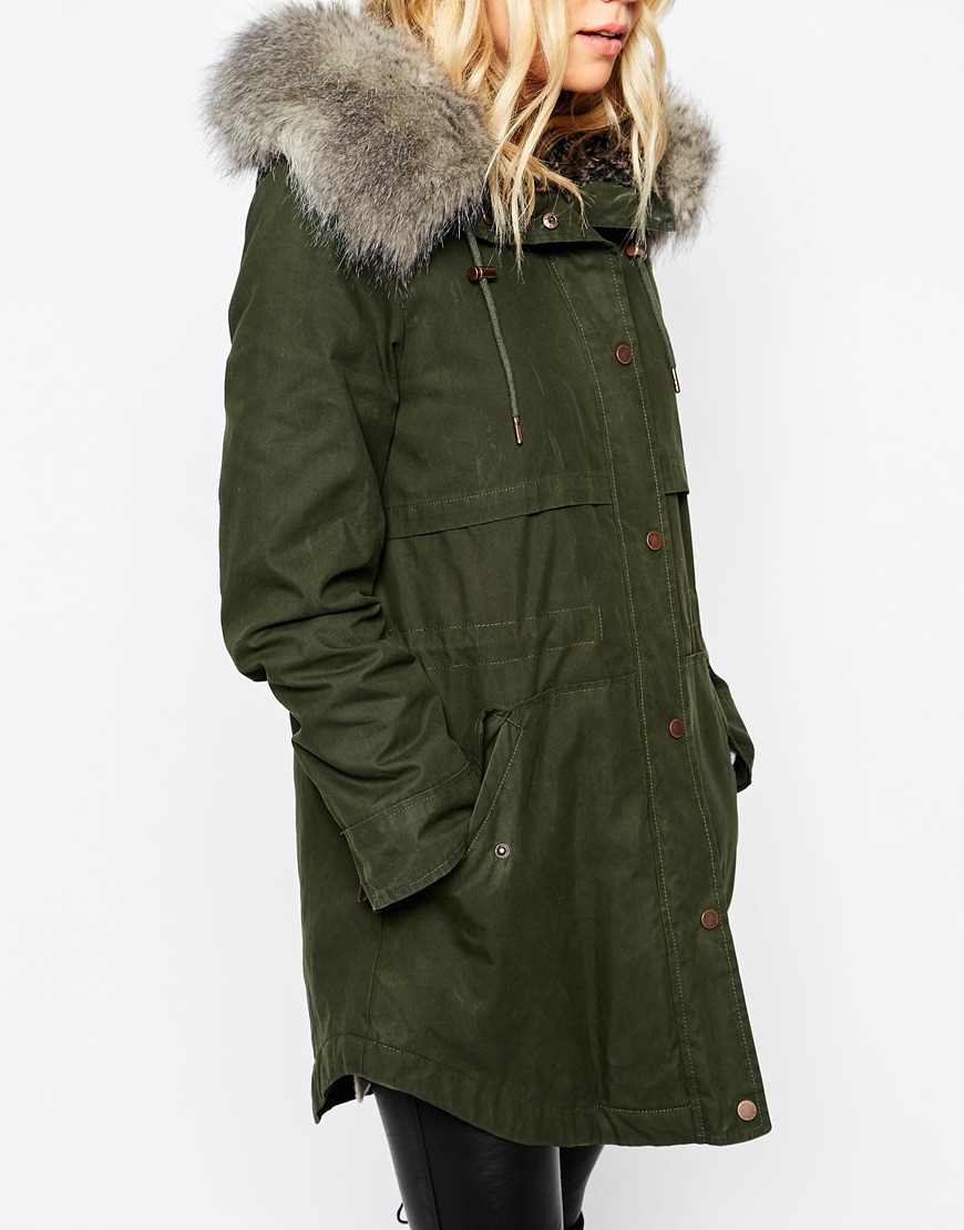 Parka london Lara Hooded Coat In Waxed Cotton in Green | Lyst