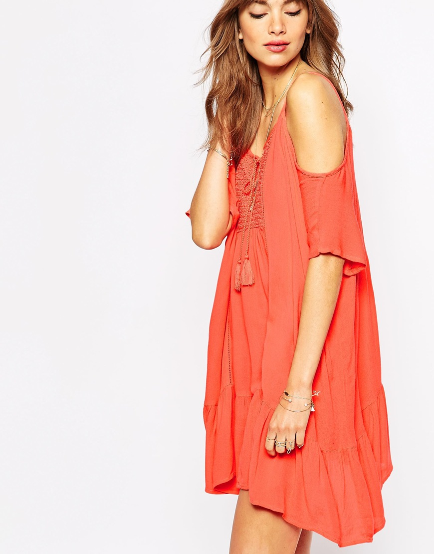 Vila Cut Out Shoulder Summer Dress In Orange