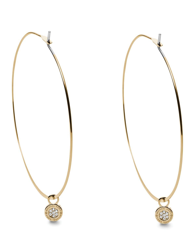c3cb52e9ecd1c Lyst - Michael Kors Whisper Pave Charm Hoop Earrings in Metallic