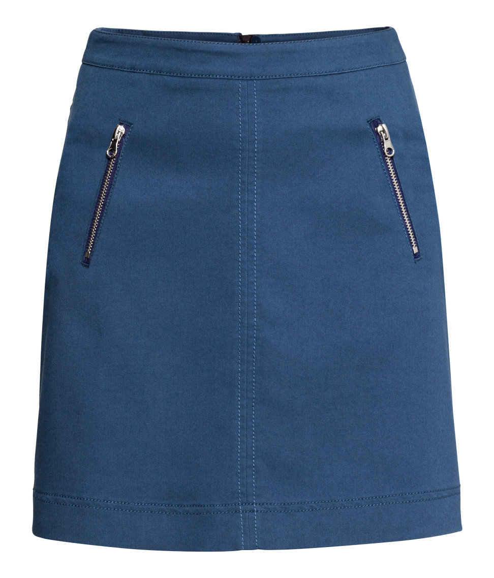 h m stretch twill skirt in blue lyst