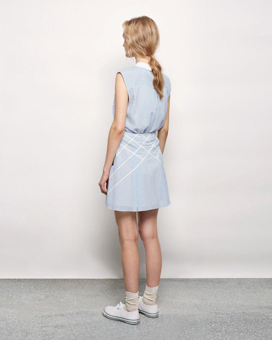 band of outsiders lattice appliqu 233 suspender skirt in blue