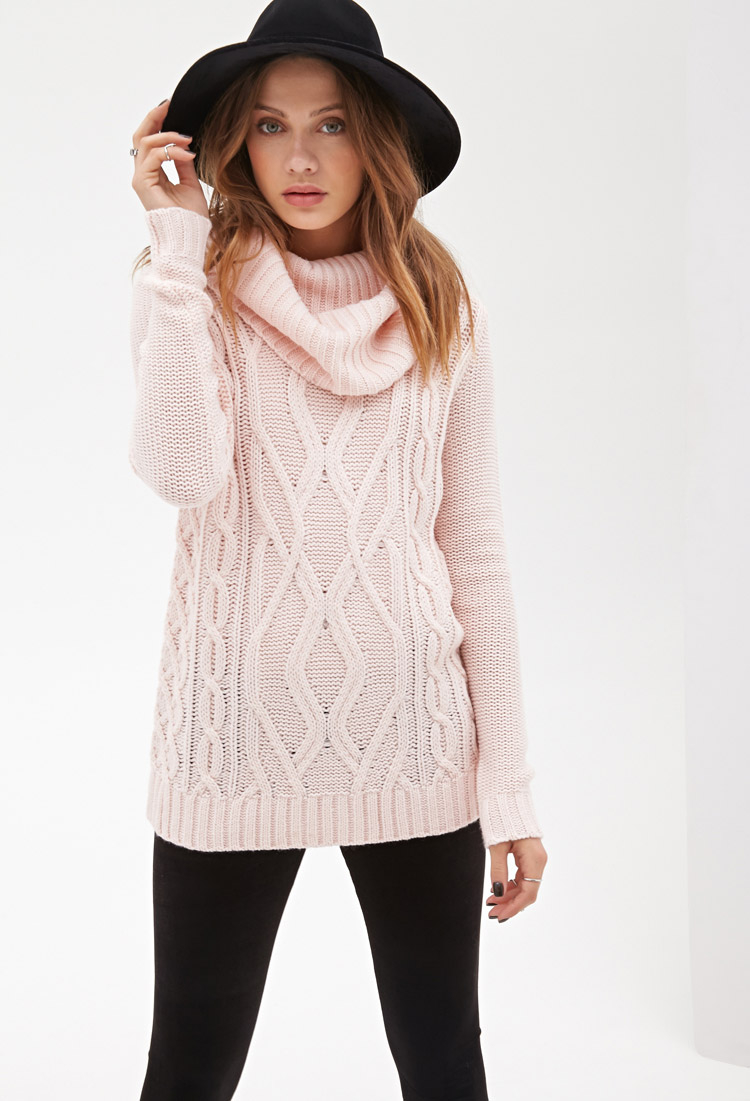 Forever 21 Turtleneck Cable Knit Sweater In Pink Lyst