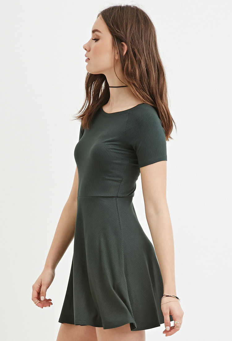 Forever 21 Synthetic Micro Ribbed Skater Dress In Green Lyst