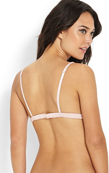 Forever 21 Lace Plunge Bralette In Pink Baby Pink Lyst