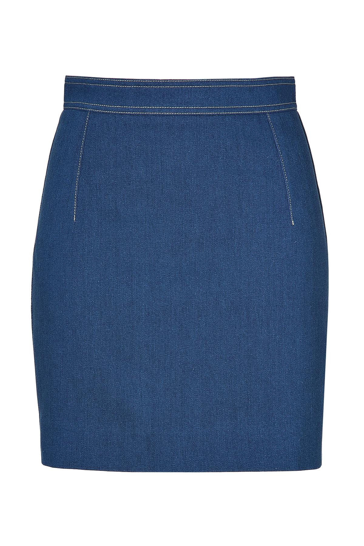 balmain blue denim skirt in blue lyst
