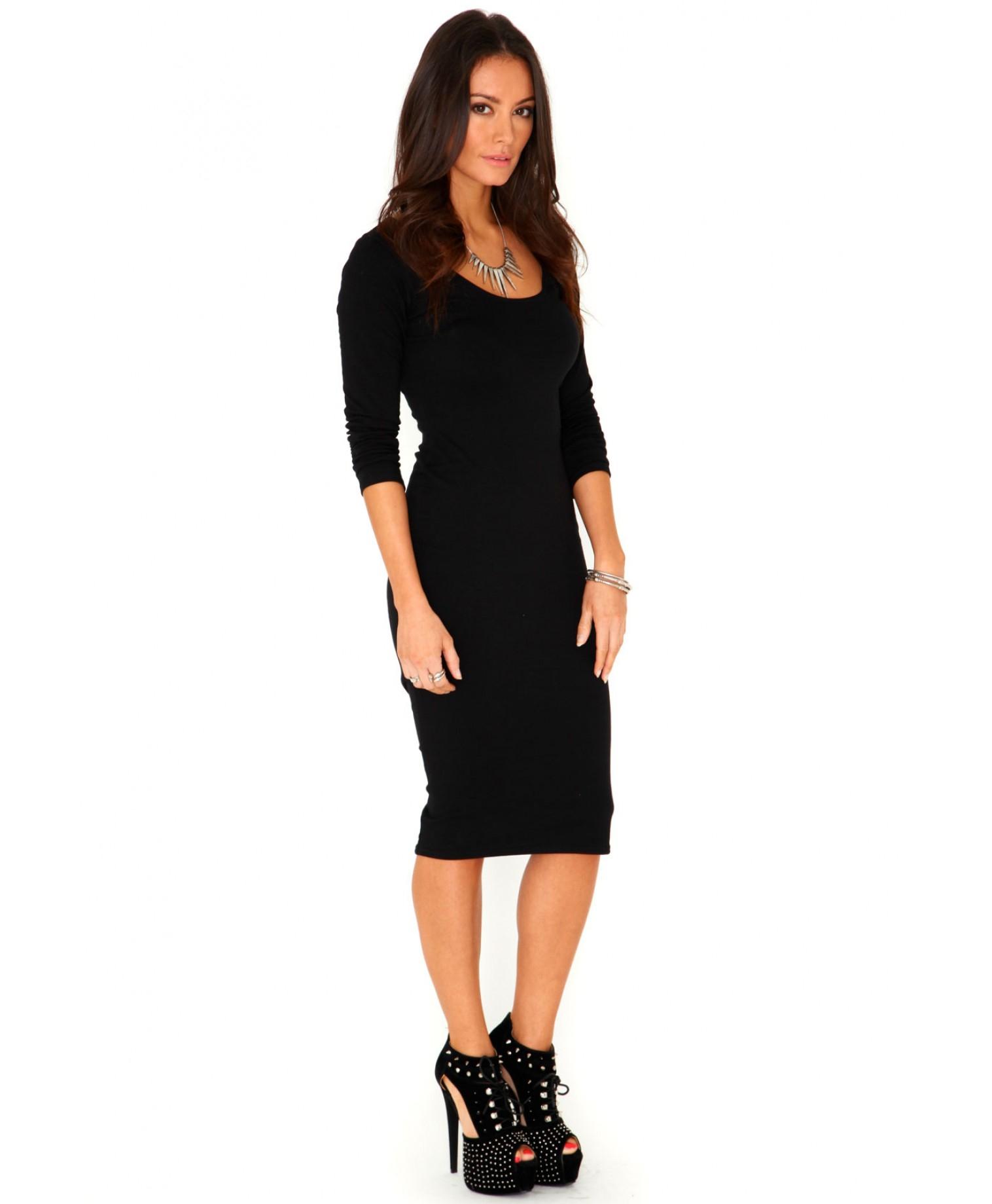 Black long sleeve scoop neck bodycon dress