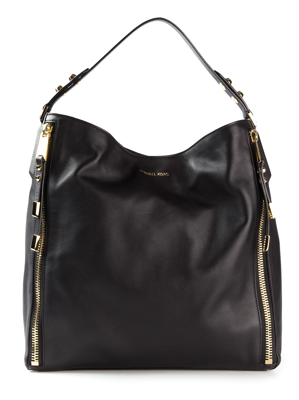 Michael Kors Large Miranda Zipper Shoulder Bag In Black Lyst