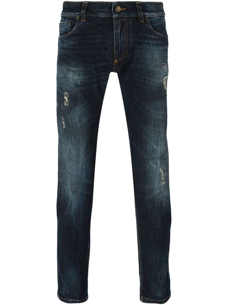 dolce gabbana distressed slim jeans in blue for men lyst. Black Bedroom Furniture Sets. Home Design Ideas