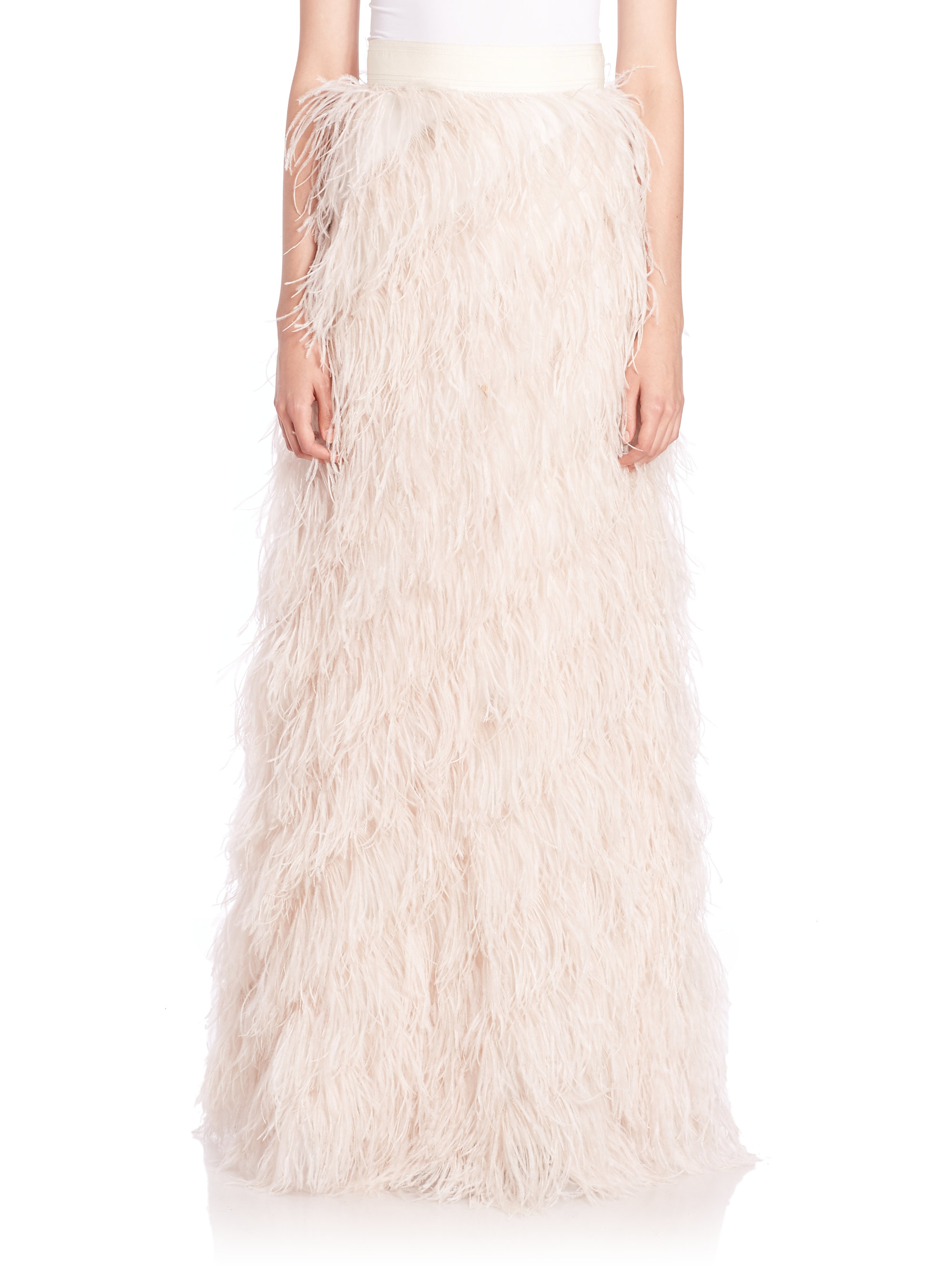 sherelle feather maxi skirt in white lyst