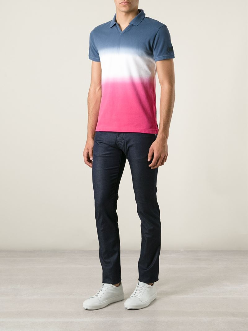 Lyst armani jeans tie dye polo shirt in blue for men for Polo shirt and jeans