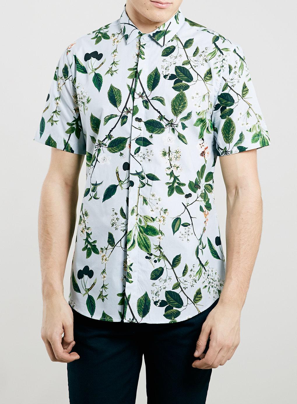 Topman floral print short sleeve shirt in multicolor for for Mens short sleeve floral shirt
