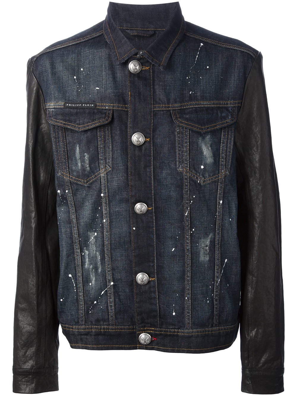 Philipp plein Distressed Denim Jacket in Blue for Men | Lyst