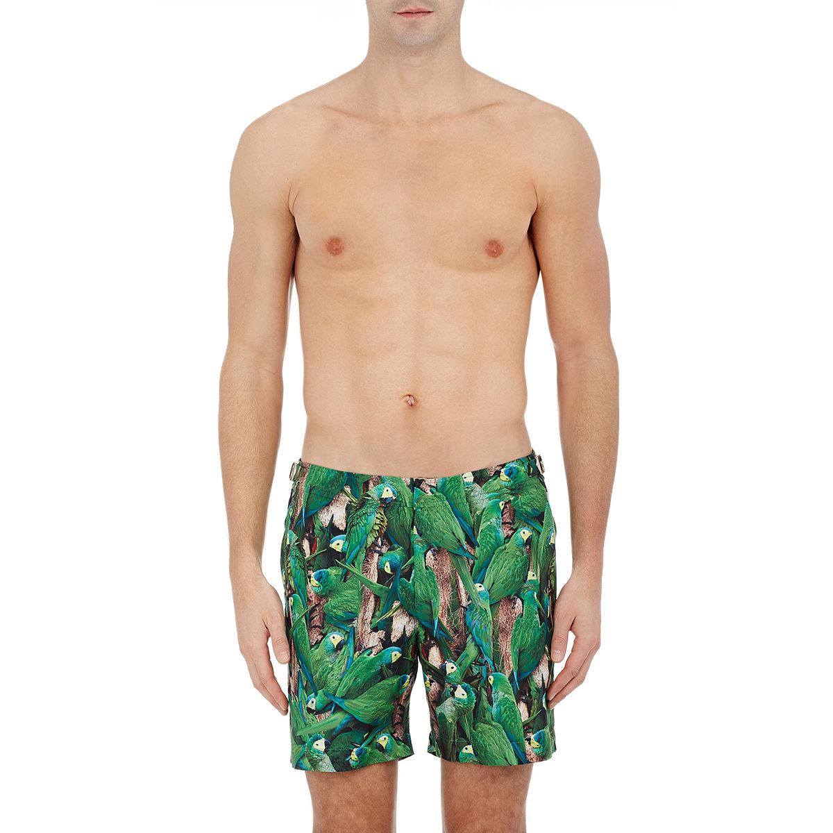 0544e43b28c Orlebar Brown Men's Parakeet-print bulldog Swim Trunks in Green for ...