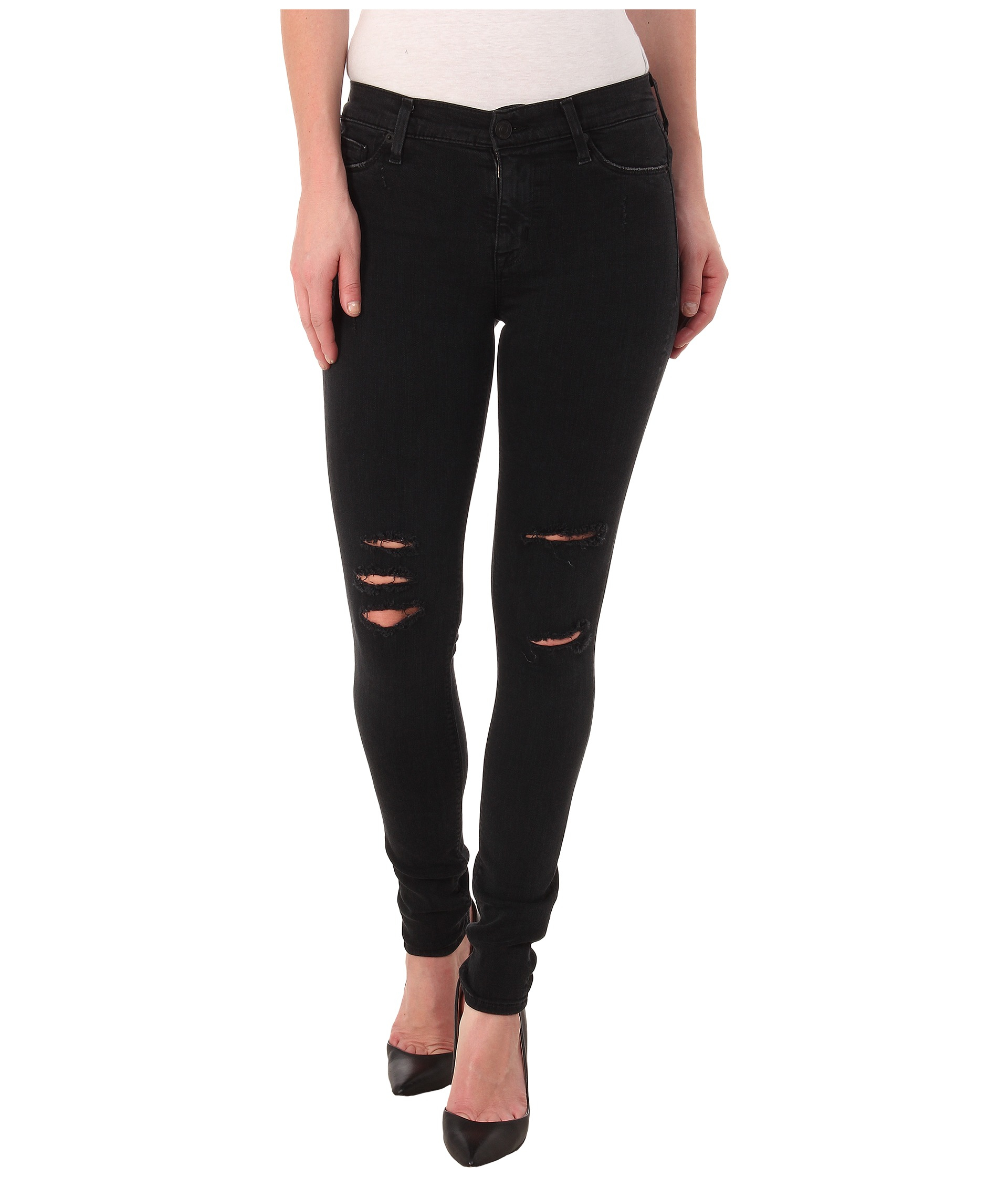 Hudson jeans Ginny Rolled Crop Jeans In Black in Black | Lyst