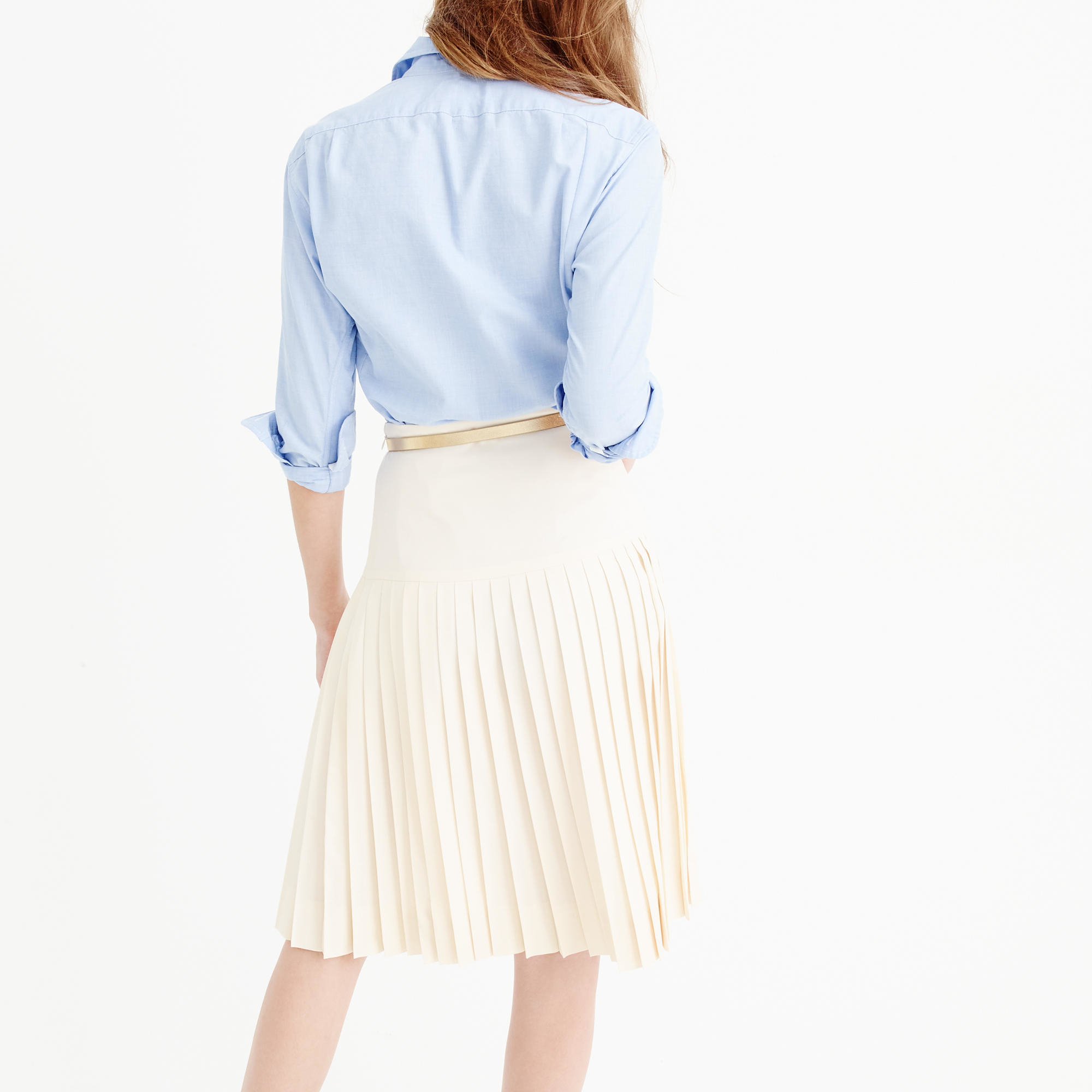 72745f8775 J.Crew Drop-waist Pleated Skirt In Super 120s Wool in Natural - Lyst