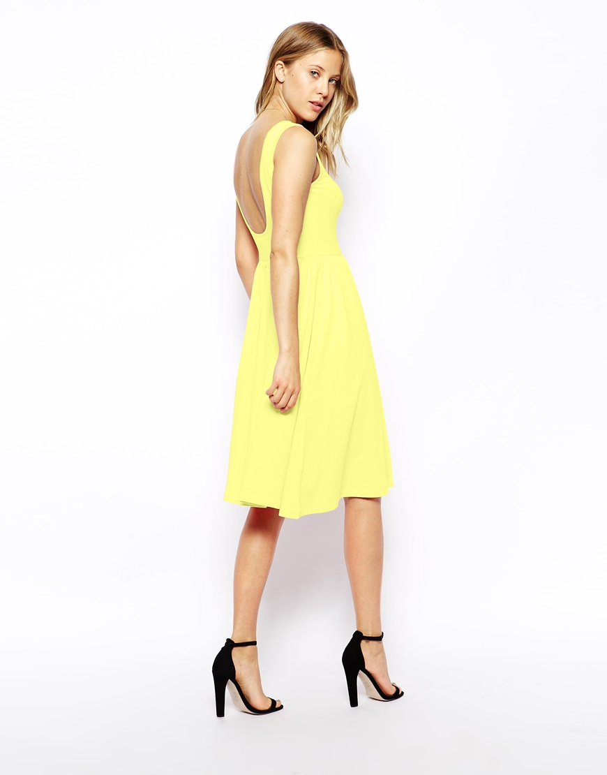 a94d44dabeec Lyst - ASOS Midi Skater Dress With Scoop Back in Yellow