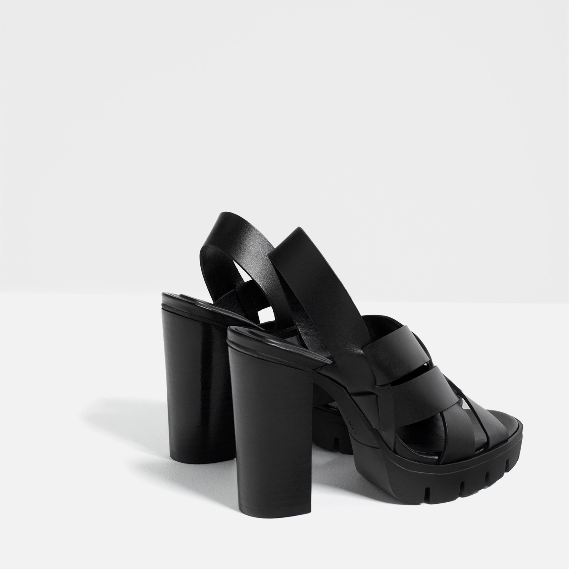 zara high heel leather sandals with track sole in black lyst