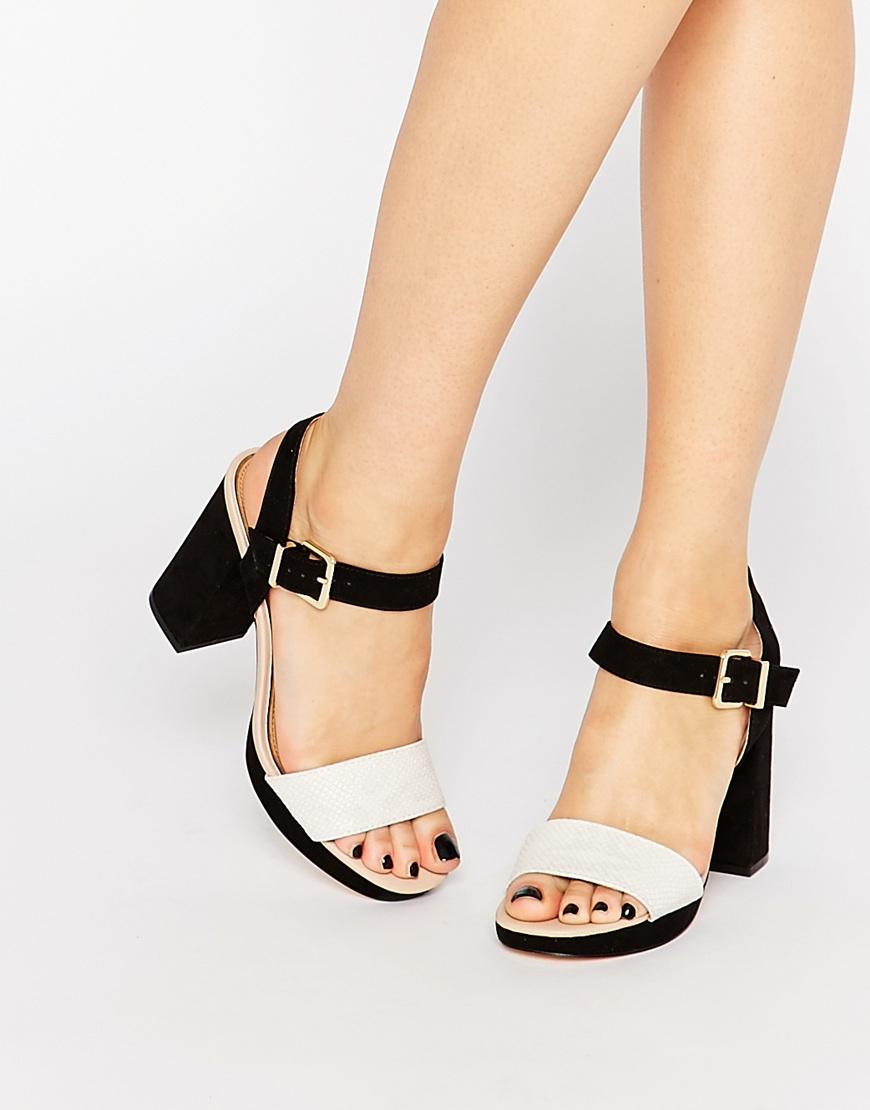 e3d617b286ff6 Miss Kg Esther Black & White Faux Snake Heeled Sandals - Black & White