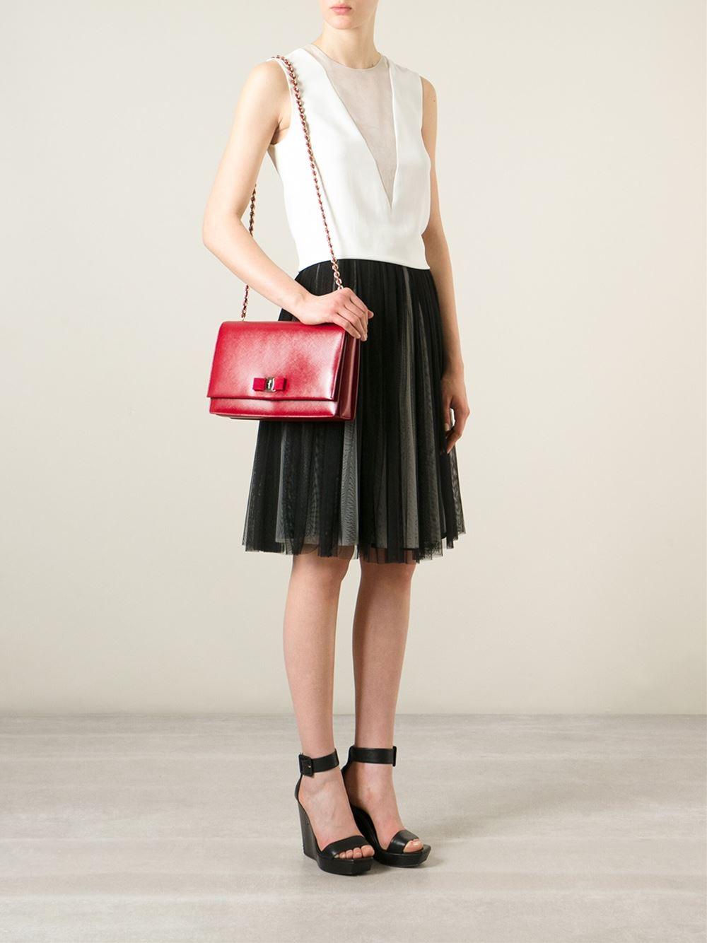 ... info for ed973 7be4a Ferragamo Ginny Leather Cross-Body Bag in Red -  Lyst ... 2ed3e3ffe5