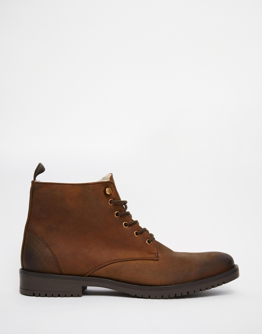 Lyst Asos Boots In Brown Leather With Faux Shearling