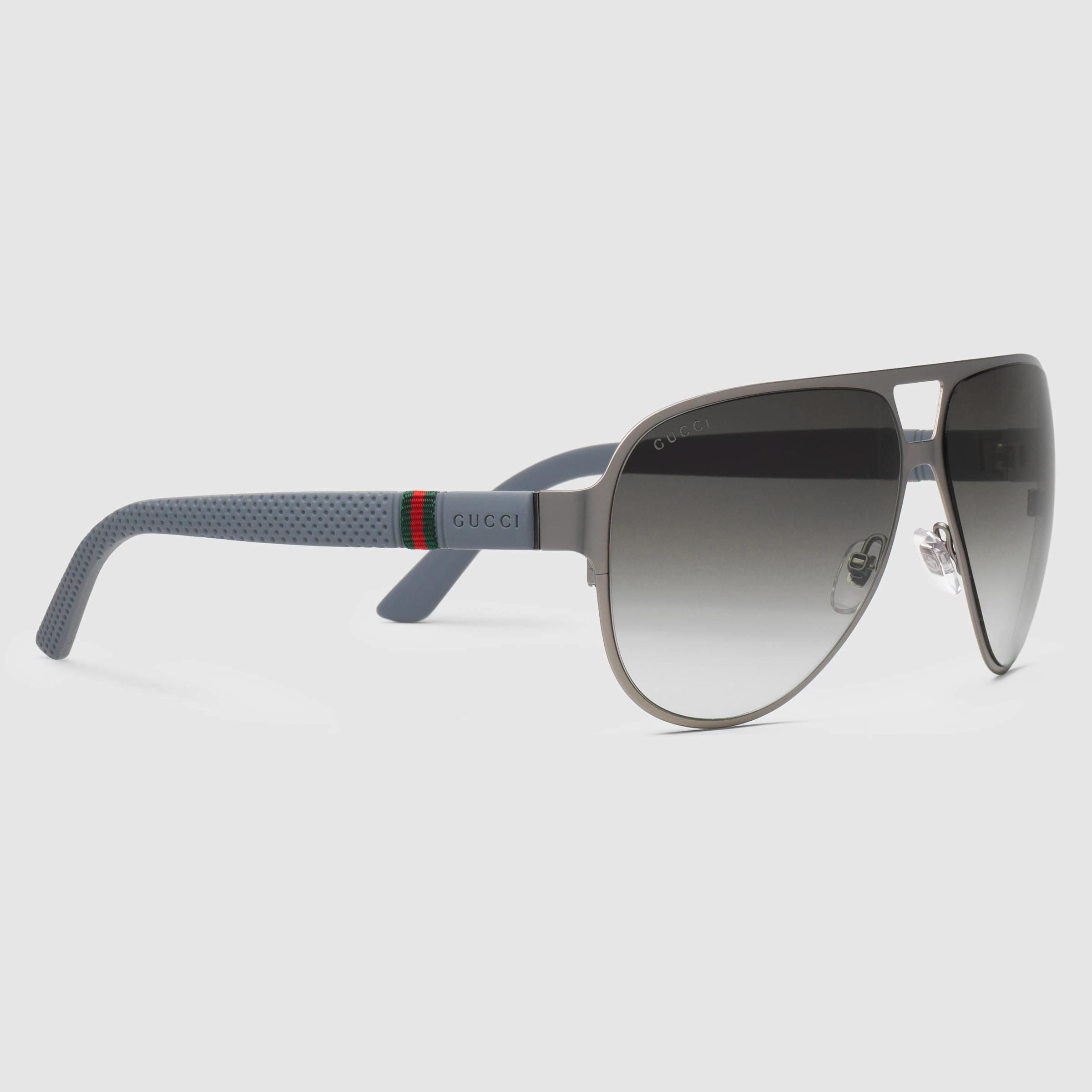 2179fdaa656 Lyst - Gucci Light Steel Aviator Sunglasses in Gray for Men