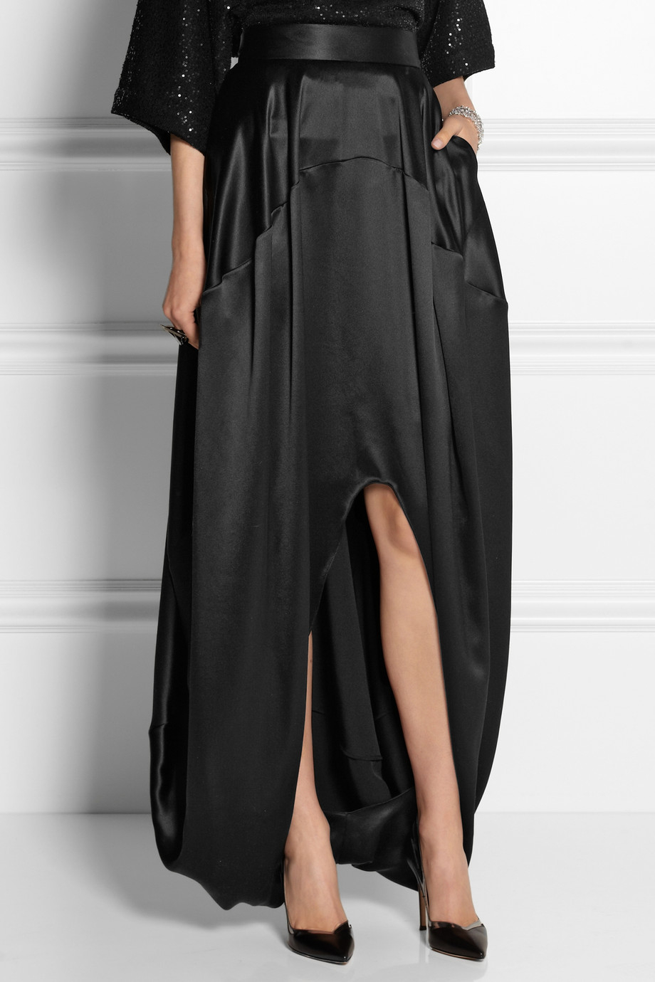 Oscar de la renta Silk-Satin Maxi Skirt in Black | Lyst