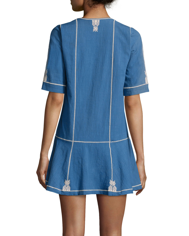 short embroidered dress - Blue Isabel Marant lDUe9DB6x